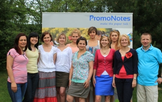 The sales and marketing team of PromoNotes. On the right of the photo, Sales Director Maciej Maćkowiak.
