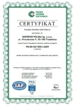 Zertifikat inspirion polska cm system werbeartikel nachrichten kleiner