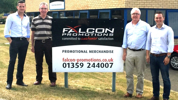 Handing-over ceremony in Woolpit (f.t.l.): Matt Franks (CEO Fluid Branding), Les Wright and Paul Peachey (the former owners of Falcon Promotions) and Miles Lovegrove (Managing Director, Fluid Branding).