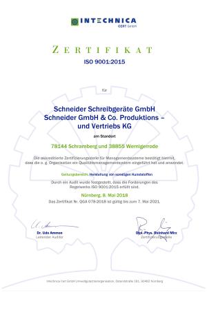 iso 90012015 zertifikat das sich auf alle geschaeftsbereiche des unternehmens bezieht.1297 - Schneider extends management system